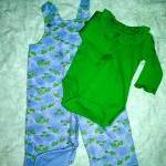infant girl flannel overalls and ma..
