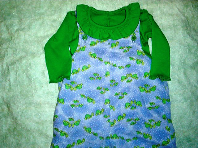 infant girl flannel overalls and matching shirt size 6 to 9 month