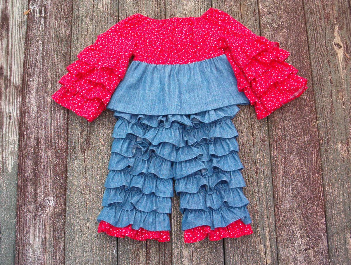 Girls Ruffle Back Pants and Matching Top Size 3 to 4